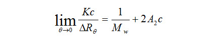 Rayleigh equation for molecular weight determination in a static light scattering experiment